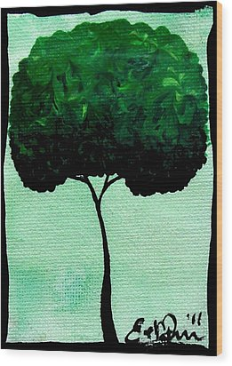Wood Print featuring the painting Emily's Trees Green by Oddball Art Co by Lizzy Love