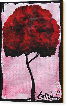 Emily's Trees Red Wood Print by Lizzy Love of Oddball Art Co