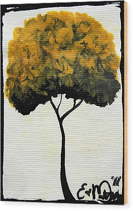 Wood Print featuring the painting Emily's Trees Yellow by Oddball Art Co by Lizzy Love
