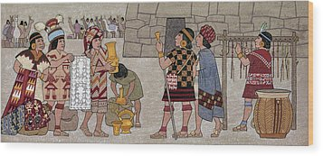 Emissaries Bring Tribute To Inca Wood Print by Ned M. Seidler
