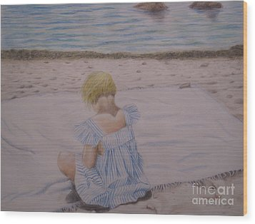 Emma On The Beach Wood Print by Heather Perez