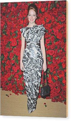 Emma Stone Wearing A Chanel Dress Wood Print by Everett