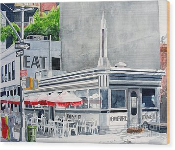 Wood Print featuring the painting Empire Diner by Tom Riggs