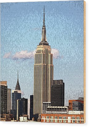 Empire State Building Wood Print by Anne Raczkowski