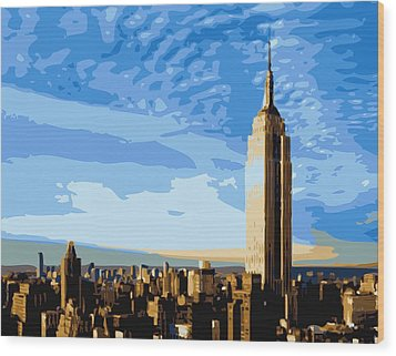 Empire State Building Color 16 Wood Print by Scott Kelley