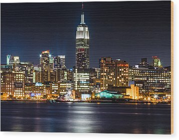 Empire State Building From Hoboken Wood Print by Val Black Russian Tourchin