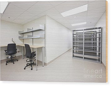 Empty Metal Shelves And Workstations Wood Print by Jetta Productions, Inc