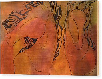 En Gallop Wood Print by Sheridan Furrer