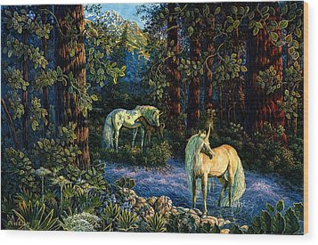 Wood Print featuring the painting Enchanted Forest by Steve Roberts
