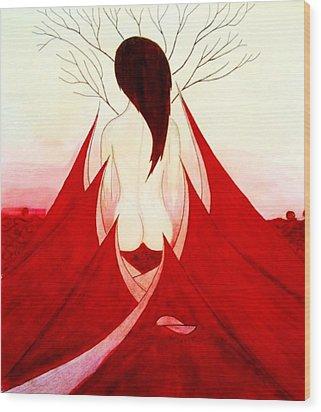 Enchantress Red Wood Print by Fariz Kovalchuk