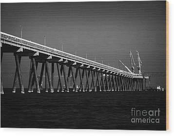 End Of The Jetty At Cloghan Point Oil Terminal In Belfast Lough Northern Ireland Uk Wood Print by Joe Fox