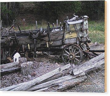 End Of The Trail Oregon Conestoga Wagon  Wood Print by Glenna McRae