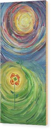 Energy Flower Wood Print by Erik Tanghe