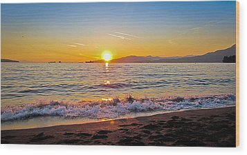 English Bay - Beach Sunset Wood Print by Eva Kondzialkiewicz
