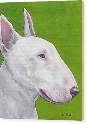 English Bull Terrier Profile On Green Wood Print by Dottie Dracos
