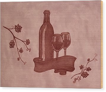 Enjoying Red Wine  Painting With Red Wine Wood Print by Georgeta  Blanaru