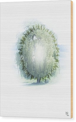 Enlightment Of The Willow Wood Print by Nafets Nuarb