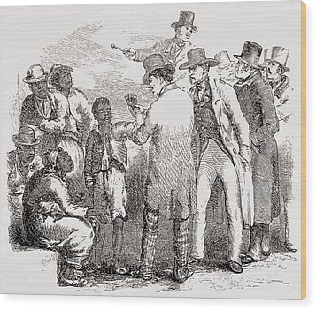 Enslaved African American Sold At An Wood Print by Everett
