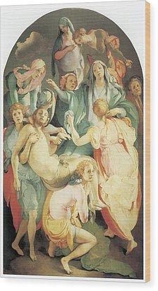 Entombment Wood Print by Jacopo Da Pontormo