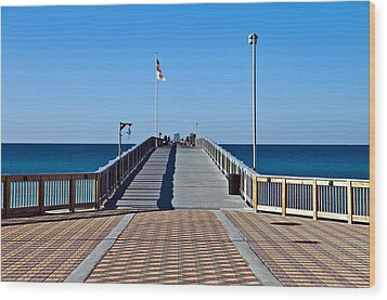 Wood Print featuring the photograph Entrance To A Fishing Pier by Susan Leggett