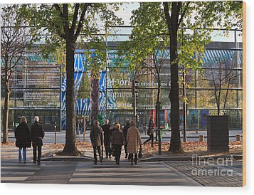 Entrance To Musee Branly In Paris In Autumn Wood Print by Louise Heusinkveld