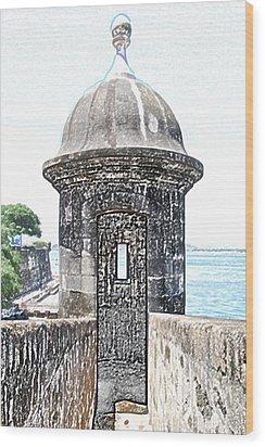 Entrance To Sentry Tower Castillo San Felipe Del Morro Fortress San Juan Puerto Rico Colored Pencil Wood Print by Shawn O'Brien