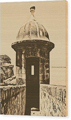 Entrance To Sentry Tower Castillo San Felipe Del Morro Fortress San Juan Puerto Rico Rustic Wood Print by Shawn O'Brien