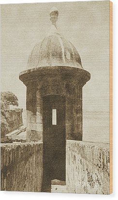 Entrance To Sentry Tower Castillo San Felipe Del Morro Fortress San Juan Puerto Rico Vintage Wood Print by Shawn O'Brien