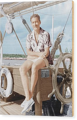 Errol Flynn Relaxing On His Yacht, Ca Wood Print by Everett