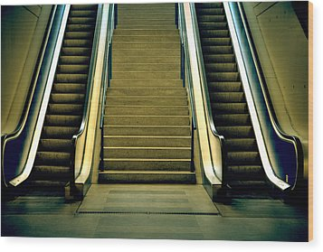 Escalators And Stairs Wood Print by Joana Kruse