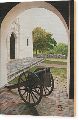 Wood Print featuring the painting Espiritu Santo Mission Cannon by Jimmie Bartlett