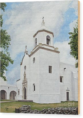 Wood Print featuring the painting Espiritu Santo Mission by Jimmie Bartlett