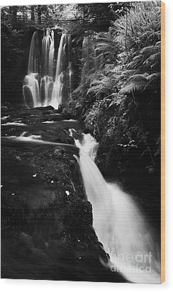 Ess-na-crub Waterfall On The Inver River In Glenariff Forest Park County Antrim Northern Ireland Wood Print by Joe Fox