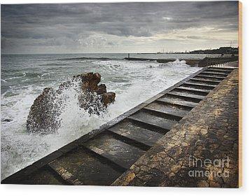 Estoril Coastline Wood Print by Carlos Caetano