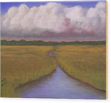 Wood Print featuring the painting Estuary Storm by Janet Greer Sammons