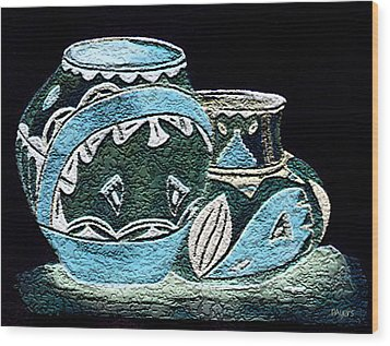 Wood Print featuring the painting Etched Pottery by Paula Ayers