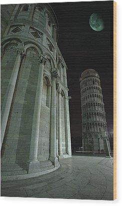 Ethereal Moonlight Scene Of Duomo Santa Wood Print by Carson Ganci