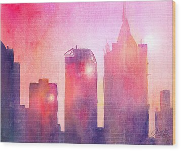 Ethereal Skyline Wood Print by Arline Wagner