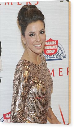 Eva Longoria In Attendance For Padres Wood Print by Everett