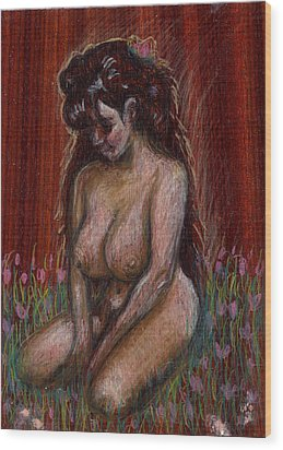 Eve In Her Garden Wood Print by Mani Price