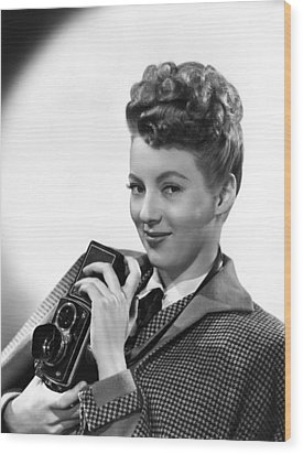 Evelyn Keyes, With A Rolex Camera, Ca Wood Print by Everett