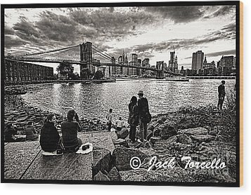 Wood Print featuring the photograph Evening At Brooklyn Bridge by Jack Torcello