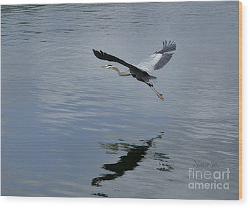 Wood Print featuring the photograph Evening Flight Reflection by Nava Thompson