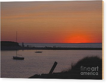Evening Harbor Silhouette Wood Print by Douglas Armstrong