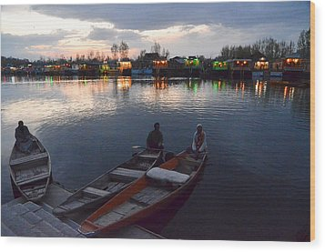 Evening On Dal Lake Wood Print by Fotosas Photography