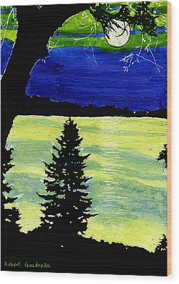 Evening Pine Wood Print by Robert Goudreau