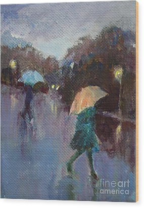 Evening Rain Wood Print