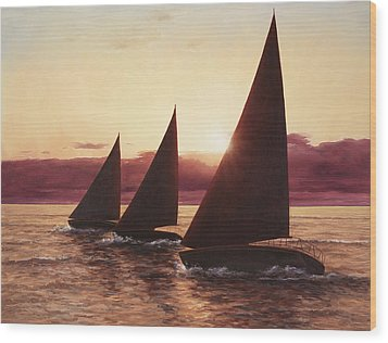 Evening Sails Wood Print