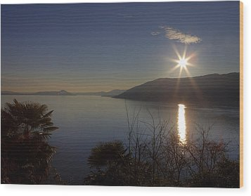 evening sun over the Lake Maggiore Wood Print by Joana Kruse