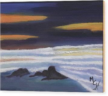Wood Print featuring the painting Evening Sunset On Beach by Margaret Harmon